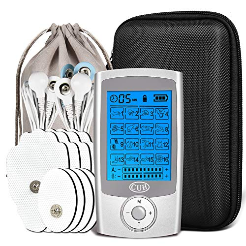 CUH Rechargeable TENS Unit with Travel Case Upgraded 16 Modes with 8 Pads Independent A/B Channel
