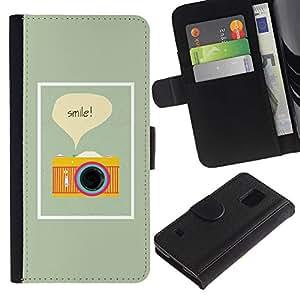 Billetera de Cuero Caso Titular de la tarjeta Carcasa Funda para Samsung Galaxy S5 V SM-G900 / Text Photo Photographer Yellow / STRONG
