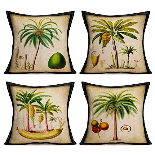 Asminifor Tropical Throw Pillow Covers Set of 4 Cotton Linen Summer Coconut Palm Banana Tree Green Leaf Throw Cushion Cover for Home Sofa Bed Car Couch, 18