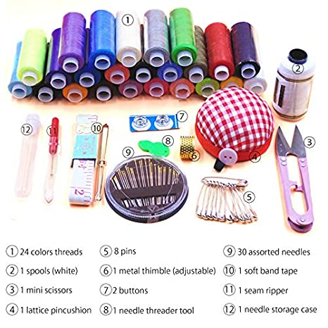 TINTON LIFE 2 Layers Sewing Kits with Vintage Box Sewing Accessories Supplies Kits for Adults Kids Beginner Travel Sewing Basket Metal Handle Red