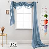 "Semi Sheer Luxury Scarf Window Decor Modern Classic Outdoor Home Design Light Penetrating Provide Privacy Soft Durable Polyester Easy Upkeep add to Curtains Drapes (Scarf 54' x 216"" Quite Blue)"