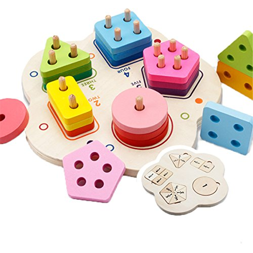 - Meshion Geometric Stacker Chunky Board Blocks Stacking SortingPuzzles - Wooden Educational Preschool Toddler Toys For 2 3 4 5 Years Old Boys Girls For Shape Color Recognition Kids Children Baby Toy