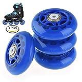 RUNACC Inline Roller Skate Wheels Premium Replacement Rollerblade Wheels with Bearings (Blue- Set of 4)