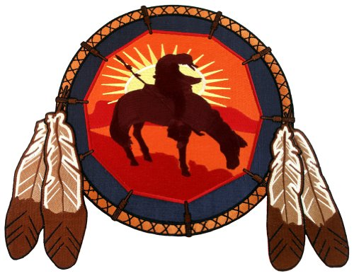- Dreamcatcher Embroidered Patch Native American End of the Trail Icon Large Iron-On Indian Symbol