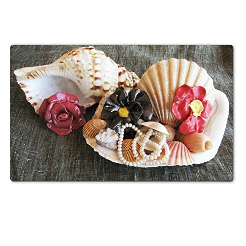 Luxlady Large TableMat Seashell wiht pearl and ceramic flowers IMAGE ID 5338341