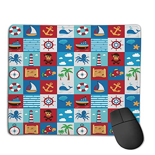 - Computer Mouse Cushion and Natural Rubber Back and Cloth Surface,Kids,Cartoon Style Nautical Icons and Animals Maritime Sea Life Pirates Joyful Collection Decorative,Multicolor,Applies to Games,Home