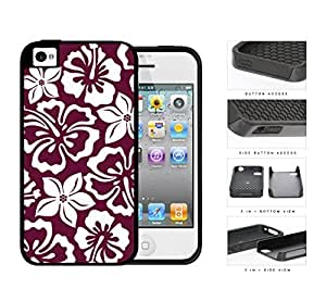 Burgundy Red Hawaiian Floral Pattern 2-Piece Dual Layer High Impact pc Silicone Cell Phone Case Apple iPhone 4 4s