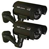 2 Pack - USAHITEC JYtrend (TM) Outdoor Dummy Fake Security Camera with Inflared Leds BLINKING LIGHT, Black