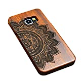 """Happy Hours - Galaxy S6 Edge 5.1"""" Engraved Wooden Case / 2-in-1 Shockproof Drop Protection Cover Shell with Velvet Inside for Samsung(Half Flora)"""