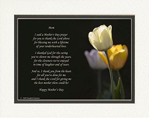 Mother's Day Gift with Mothers Day Prayer Poem. White Tulip Photo, 8x10 Double Matted. Special Gifts for Mothers Day Gift for Mom.