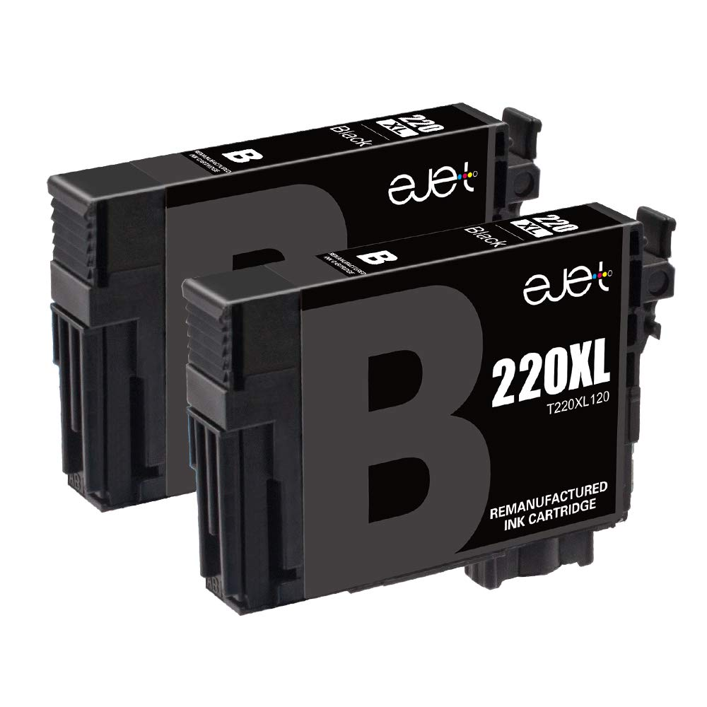 E-jet Remanufactured Epson 220 Ink,220XL Ink Cartridge for Epson WF-2760, WF-2750, WF-2630, WF-2650, WF-2660, XP-320 XP-424 XP-420 Printer (2 Black)
