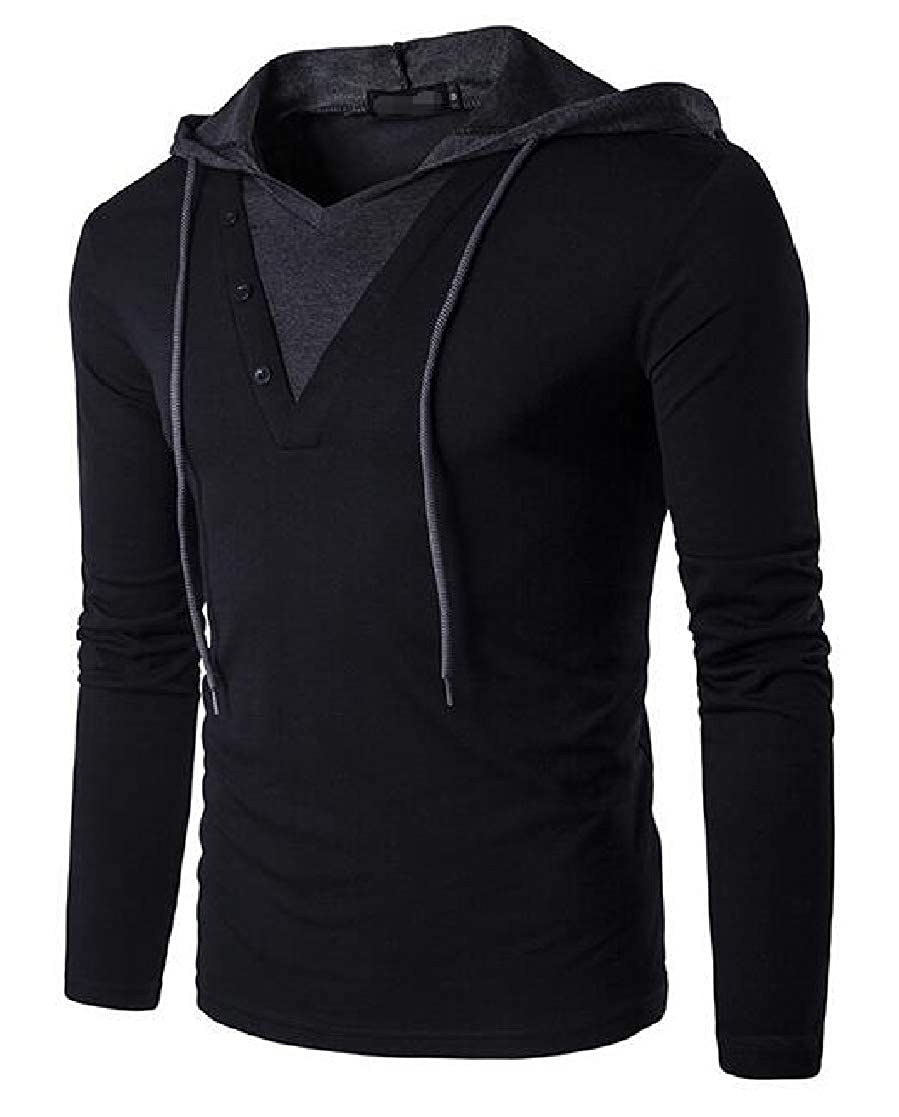 Macondoo Mens Slim Contrast Colors Long-Sleeve Pullover Hoodies Fashion T-Shirt Top
