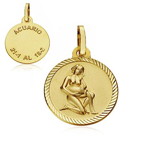 Médaille pendentif Aquarius horoscope 16mm en or 18 carats. signe du zodiaque [AA7407]