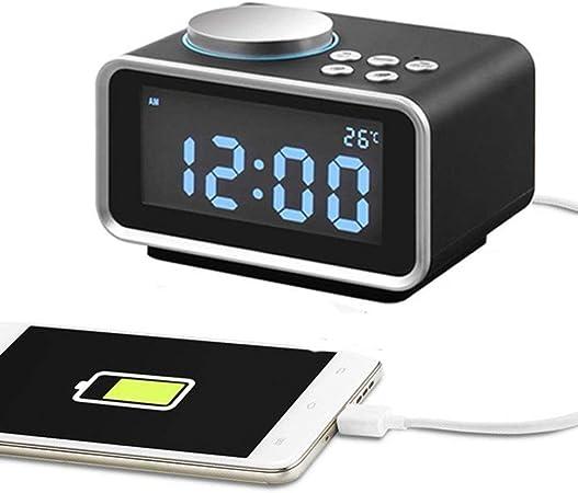 Radio sveglia digitale FM Radiosveglia con display LCD Doppia sveglia snooze temperatura e luminosit/à dimmerabile 2 Porta di ricarica USB 2.1A + 1.1A bianco