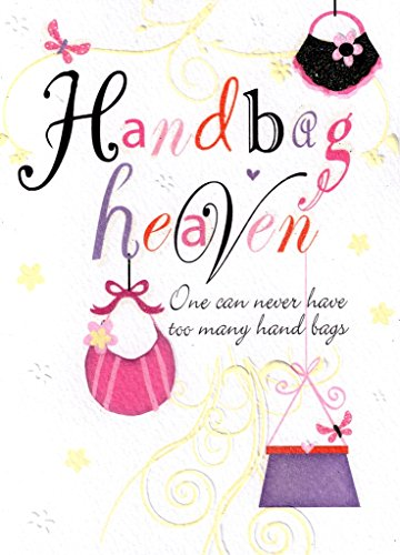 Word Perfect Handbag Heaven Birthday Card Glitter Flittered Greeting Cards
