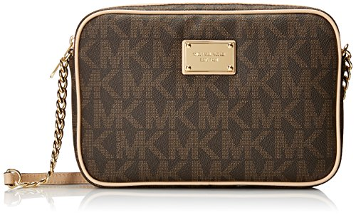 Michael Kors  Women's Jet Set Crossbody Leather Bag, Brown Monogram, Large