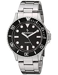 Peugeot Men's Silver Steel Pro Diver Black Bezel Bracelet Watch 1023S