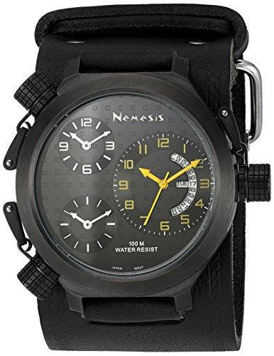 Nemesis Men's KIN080KY Signature 3-TimeZone Yellow Black Leather Band Watch