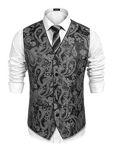 COOFANDY Men's Suit Vest V-Neck Paisley Embroidery