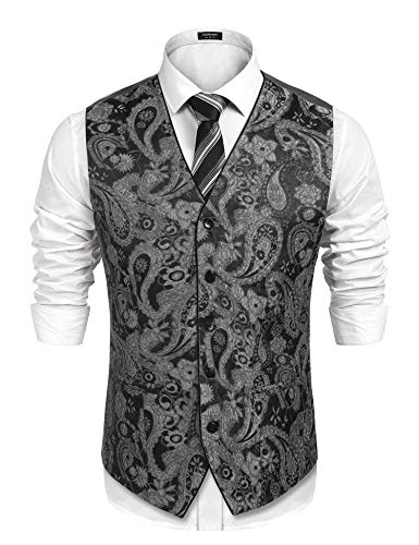COOFANDY Men's Suit Vest V-Neck Paisley Embroidery Tuxedo Dress Waistcoat Black