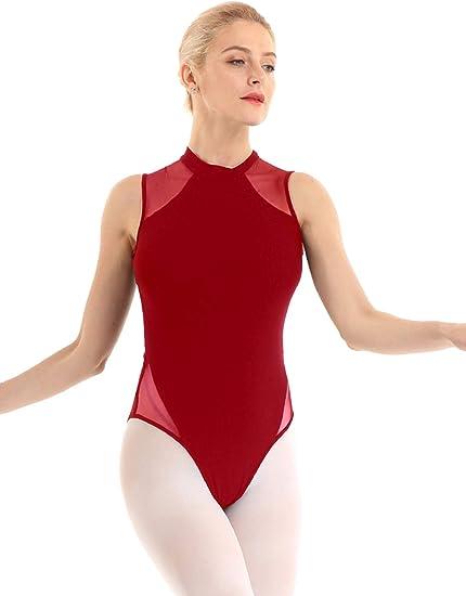 Agoky Mujer Maillot de Ballet Danza de Una Pieza Body Mono de Algodón Sin Mangas Leotardo de Gimnasia Suave Clásico Corte Alto para Adulto Chica XS-XL: Amazon.es: Ropa y accesorios