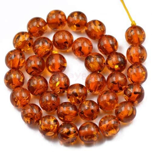 FidgetFidget 12mm Brown Amber Resin Jewelry Making Spacer Loose Beads Strand 15.5Inch