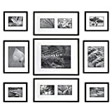 Gallery Perfect 9 Piece Black Photo Frame Gallery Wall Kit with Decorative Art Prints & Hanging Template