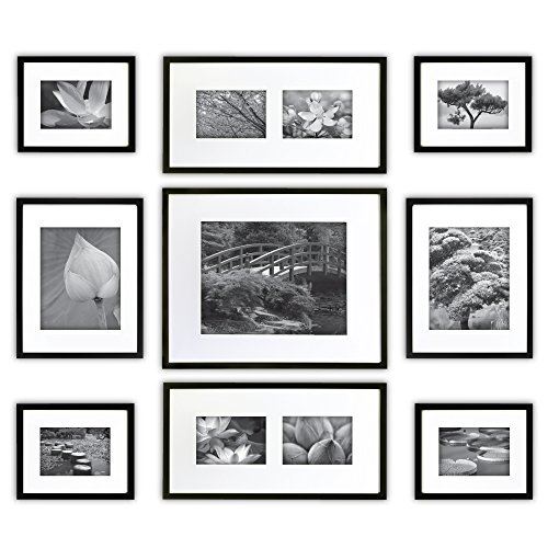 GALLERY PERFECT 9 Piece Black Wood Photo Frame Wall Gallery Kit #14FW1019. Includes: Frames, Hanging Wall Template, Decorative Art Prints and Hanging Hardware