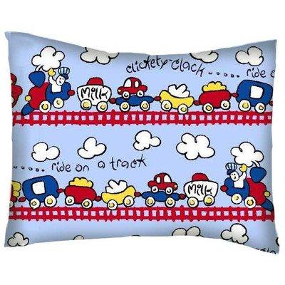 SheetWorld Crib / Toddler Percale Baby Pillow Case - Fun Train Tracks - Made In USA