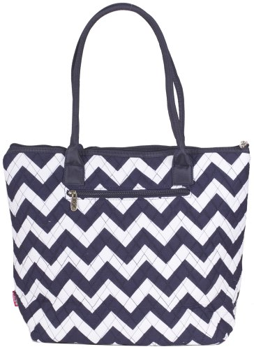 Quilted Navy Blue Chevron Tote Bag - 16-Inch
