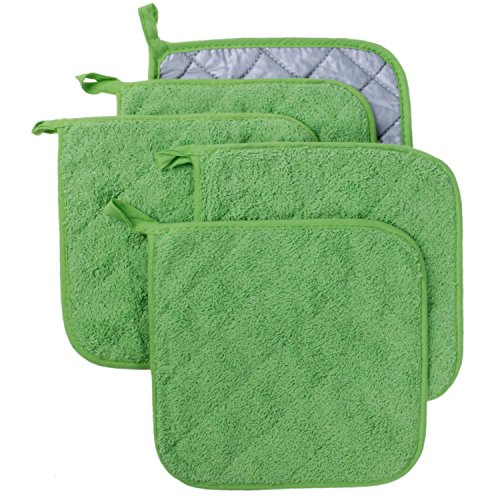 Lifaith 100% Cotton Kitchen Everyday Basic Terry Pot holder Heat Resistant Coaster Potholder for Cooking and Baking Set of 5 Apple Green by Lifaith