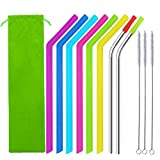 ATOZEDO Reusable Drinking Straws, 10 Inch Wide Silicone Smoothie Straws Set Stainless Steel Metal Straws with Silicone Tips for 20 30 oz Tumbler Yeti with Storage Pouch and Brushes (8 Pack)
