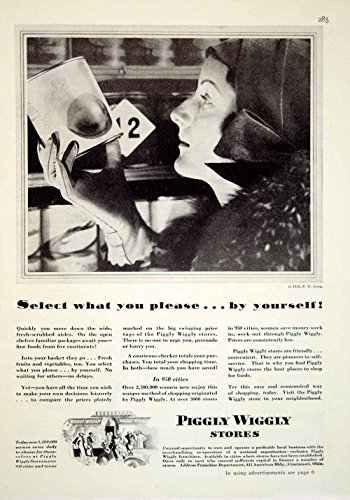 1929-ad-piggly-wiggly-store-grocery-art-deco-fashion-housewife-canned-goods-ygh3-original-print-ad