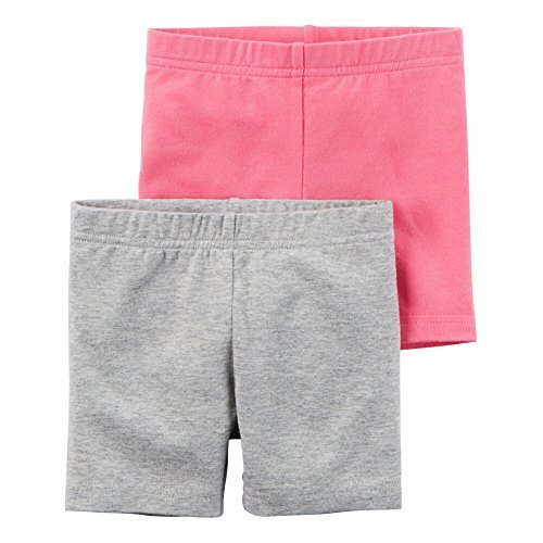 Carters Little Girls 2-Pack Playground Shorts Heather/Pink, Multi, 3T by Carters (Image #1)