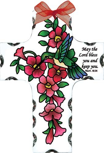 (Hummingbird & Red Trumpet May the Lord Bless You Cross Stained Glass Suncatcher (SX2010R) )