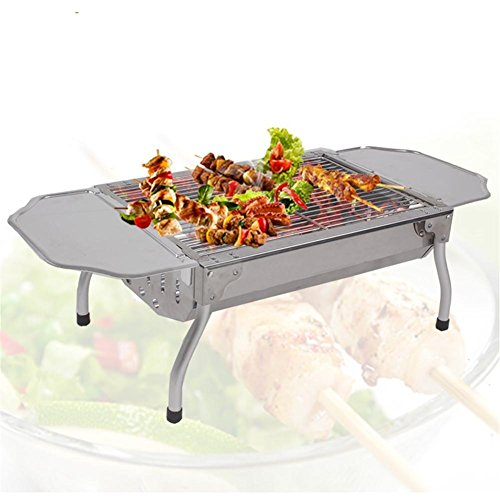 Grills Out Grills Outdoor Small type short foot Stainless Steel BBQ Grill Portable Folding Legs a Charcoal Barbecue Grill by HomJo