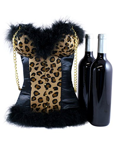 Insulated Wine Bag by Tipsy Totes | Sexy Wine Carrier Tote for Hostess Gifts, Housewarmings, Birthdays, BYOB | Portable Wine Cooler Corset Shaped Tote | Cute Wine Bottle Carrier (Leopard/Cheetah)