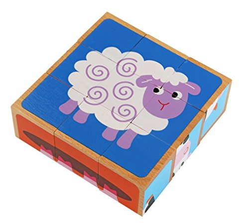 Adorable Farm Animals 6-in-1 Block Puzzle - Colorful Solid Wood Cube Blocks - Educational Baby Toy for Boys and Girls Age 2 Years and Up - Early Development Puzzle Toy - Baby Animals Block Puzzle
