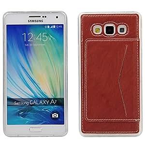 A7 Funda,Galaxy A7 Funda,Lifeturt [Card Slot] PU Leather Stand bracket Funda Cover with 1 Card Holder Slots para Samsung Galaxy A7 [marrón]