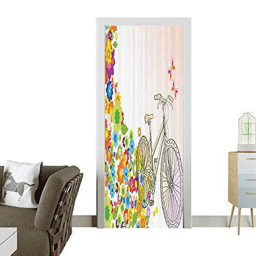 Door Sticker Wall Decals Hand Drawn Bicycle with an Extending Flower Path Sixties Hippie shi Times Funk Easy to Peel and StickW23.6 x H78.7 INCH (Best Funk Bands Of All Time)