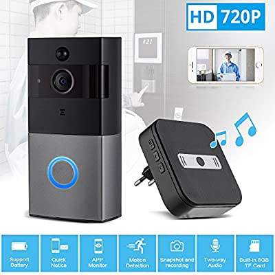 Mbangde Wifi Video Doorbell + Indoor Chime, Smart Doorbell 720P HD Wifi Security Camera with 8G Memory Storage, Battery Powered, Real-Time Two-Way Talk, Night Vision, Motion Detection for IOS Android