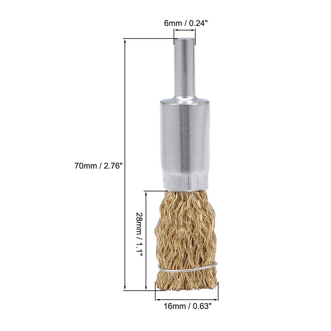 uxcell Wire Wheel Brush Cup Copper Plated Crimped Steel with Shank 0.012-inch Wire Dia Set of 10 25mm 10mm 30mm 12mm,16mm