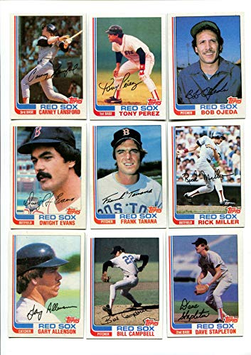 Topps 1982 Boston Red Sox Lot of 25 Cards Carney Lansford, Tony Perez, Bob Ojeda, Dwight Evans, Frank Tanana, Rick Miller, Gary Allenson and More