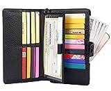 AINIMOER Women's Big RFID Blocking Leather Zip Around Wallets for Womens Clutch Organizer Checkbook Holder Large Travel Purse(Lichee Black)