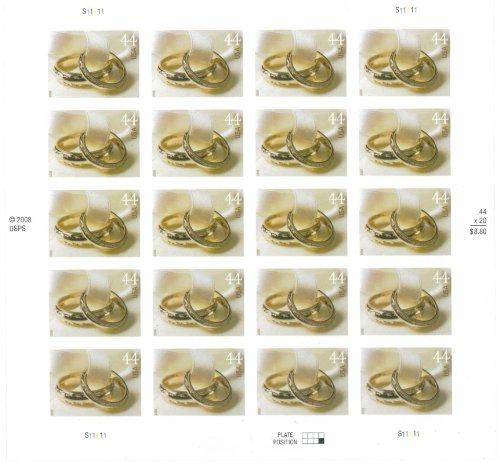 Wedding Rings Sheet Of Twenty 44 Cent Stamps Scott 4397