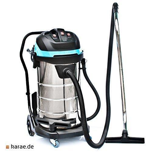 Industriestaubsauger 100 Liter Edelstahl / 3400 Watt / Schlauch: 5 Meter / Polsterdüse / Nasssauger nass Trockensauger Nassstaubsauger ohne beutel waschsauger Mehrzwecksauger