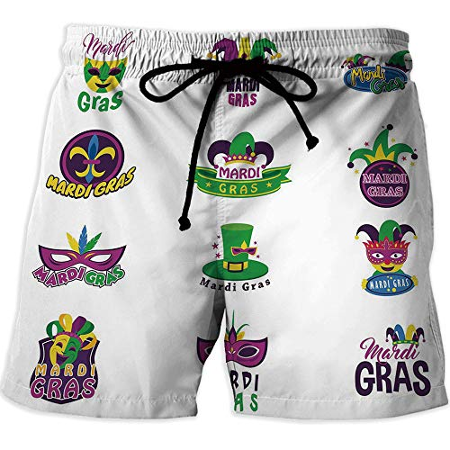 Men Swimwear Swimsuits Swim Beach Board Surf Shorts Quick Drying Trunks,Mardi GrasAthletic Shorts PocketsSet of Carnival Masks Hats and Fleur De Lis Symbols Colorful Joyous Collection Decorative