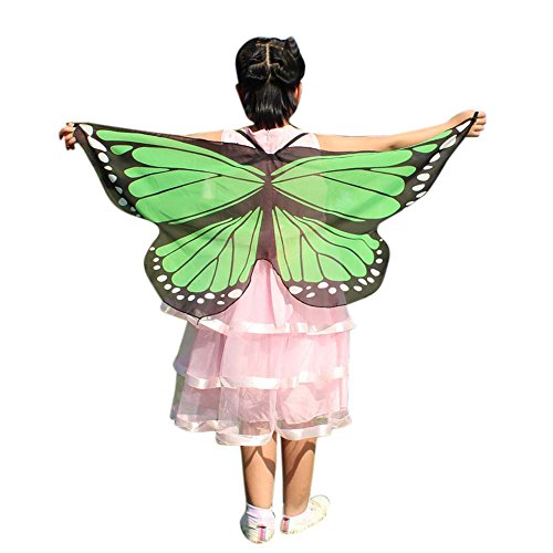 Child Kids Butterfly Wings Girls Bohemian Butterfly Print Shawl Unisex Children Pashmina Costume Accessory ICODOD(Mint Green) ()