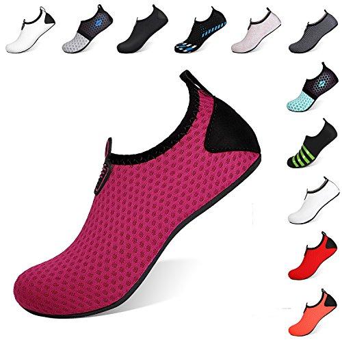 Heeta Barefoot Water Sports Shoes for Women Men Quick Dry Aqua Socks for Beach Pool Swim Yoga Dot_Purple L from Heeta