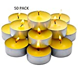50 Pack Citronella Tealight Candles - Summer Yellow - Indoor/Outdoor - MADE IN USA